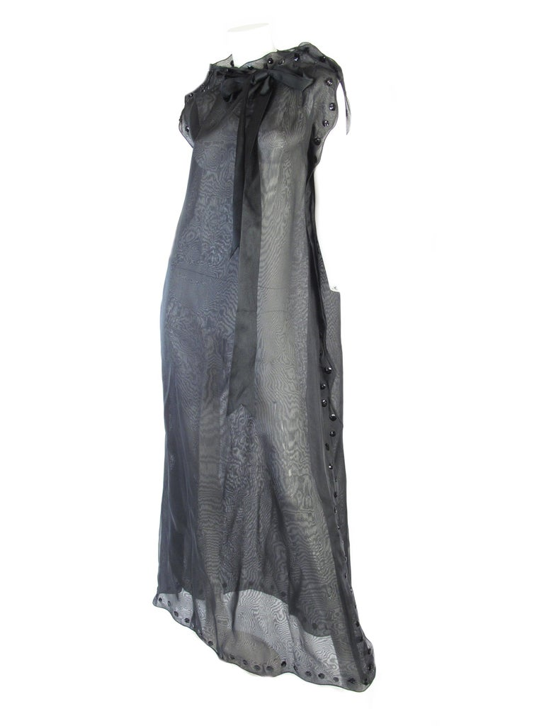 1960s Courreges Sheer Gown with sequin Flowers, style 27119 For Sale 1