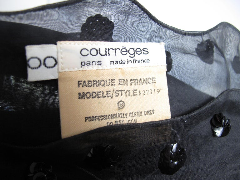 1960s Courreges Sheer Gown with sequin Flowers, style 27119 For Sale 3