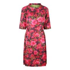 1960s Couture Floral Satin Dress Suit