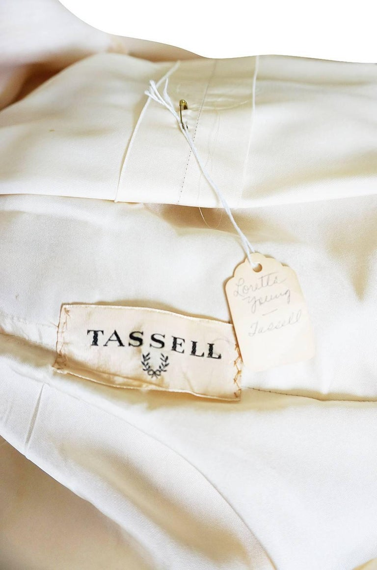 1960s Couture Gustave Tassell Pleated Silk Dress For Sale 5