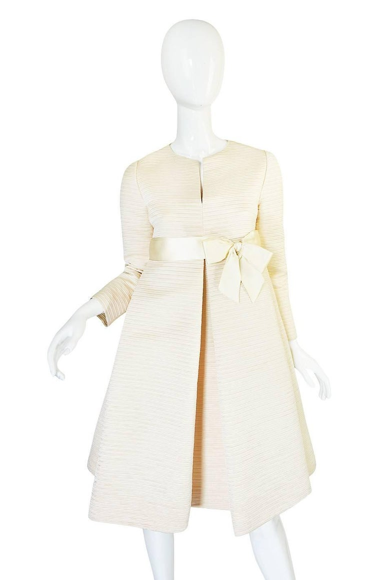 White 1960s Couture Gustave Tassell Pleated Silk Dress For Sale