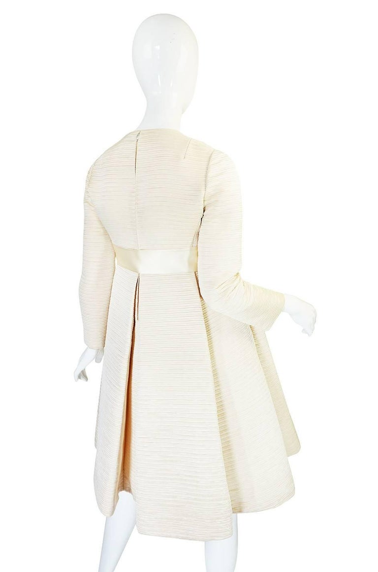 1960s Couture Gustave Tassell Pleated Silk Dress In Excellent Condition For Sale In Rockwood, ON