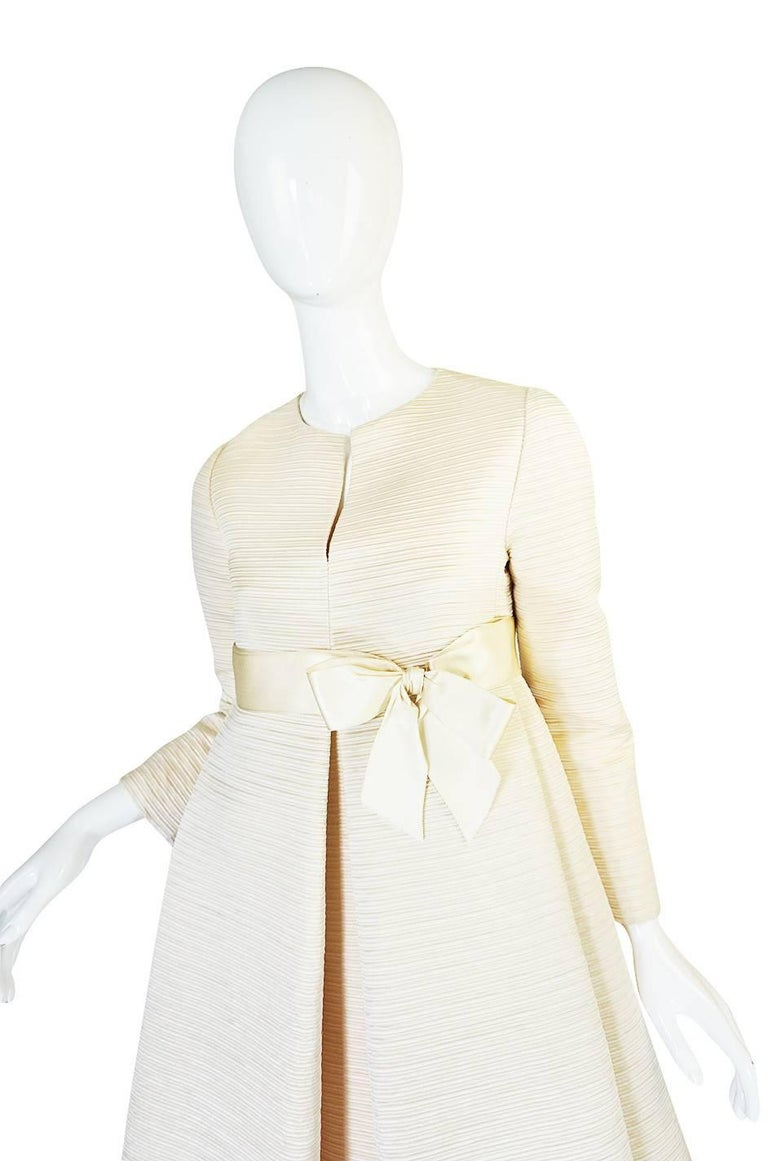1960s Couture Gustave Tassell Pleated Silk Dress For Sale 1
