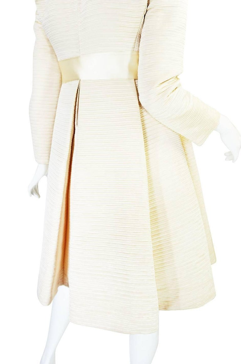 1960s Couture Gustave Tassell Pleated Silk Dress For Sale 2