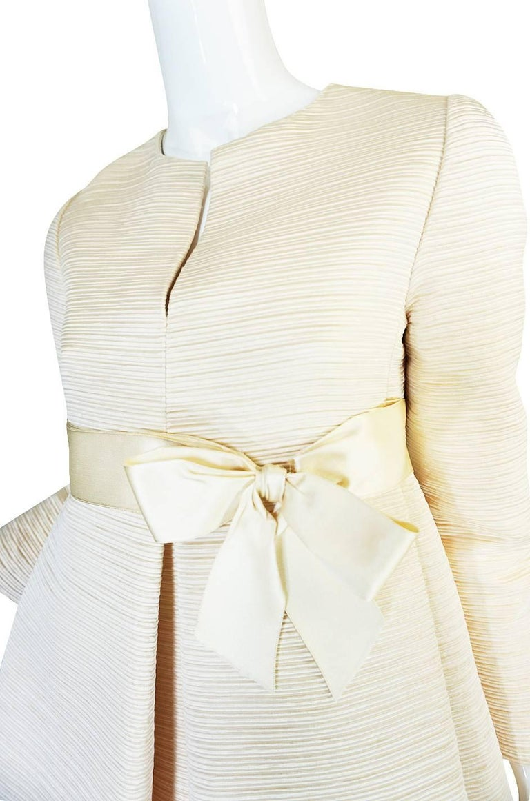 1960s Couture Gustave Tassell Pleated Silk Dress For Sale 3