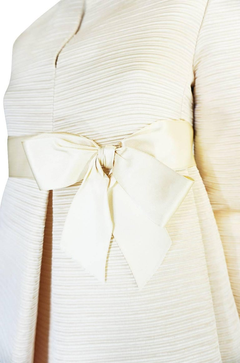 1960s Couture Gustave Tassell Pleated Silk Dress For Sale 4