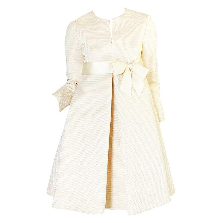 1960s Couture Gustave Tassell Pleated Silk Dress For Sale
