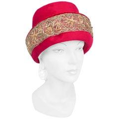 1960s Cranberry Angora Decorated Fashion Hat