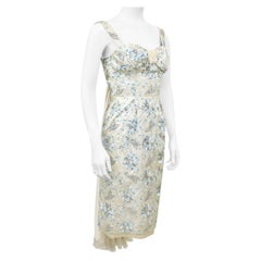 1960s Cream and Blue Floral Embroidered Satin Cocktail Dress