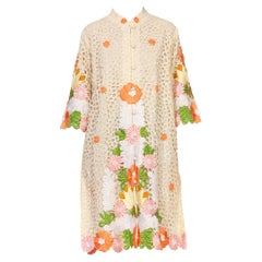 1960S Cream  Linen & Lace Floral Embroidered Jacket