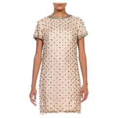 1960S Cream Poly/Lurex Lace Silver Polka Dot Beaded Dress With Jeweled Sleeves