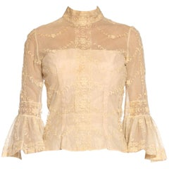 1960S Cream Silk & Cotton Top Made From Antique Lace
