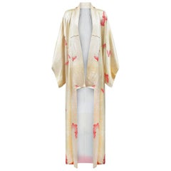 1960s Cream Silk Kimono With Pale Pink Butterfly Print