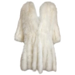 1960s Creme Ostrich Feathers Light Coat