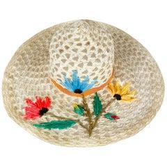 1960s Creme Raffia Beach Hat with Raffia Flower Embroidery