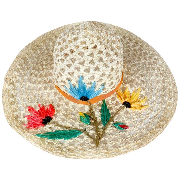 1960s Creme Raffia Beach Hat with Raffia Flower Embroidery For Sale