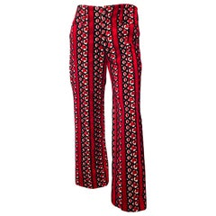 1960s Crimson Red Chenille Hip Hugger Pants