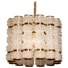 1960s, Crystal and Brass Cylinder Chandelier by Orrefors for Tyringe, Sweden