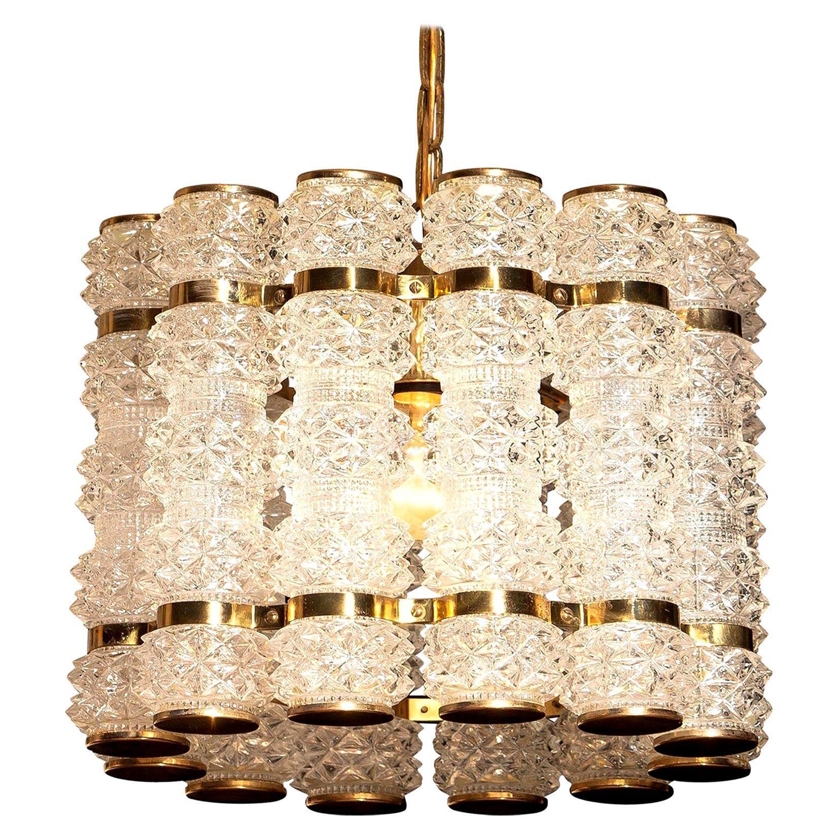 1960s, Crystal and Brass Cylinder Chandelier by Orrefors for Tyringe, Sweden
