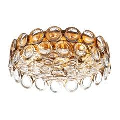 1960's Crystal Glass and Gilt Brass Flushmount by Palwa
