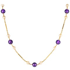 1960s Cultured Pearls Amethyst Pearls 18 Karat Yellow Gold Long Necklace