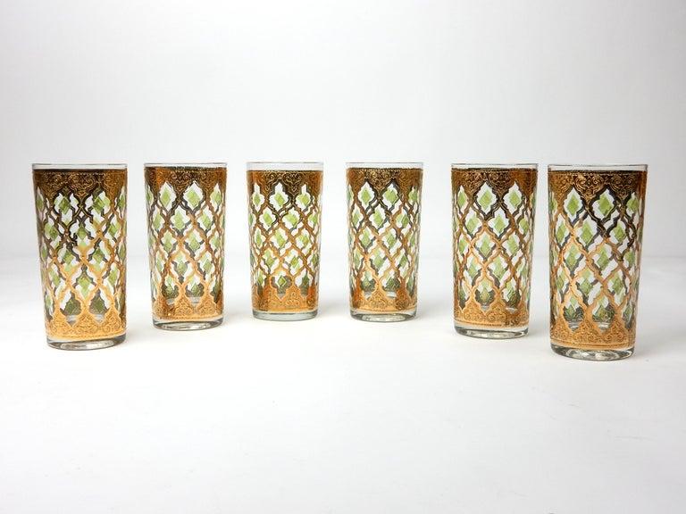 Mid-Century Modern 1960's Culver Ltd. Valentia 22kt Gold Foil Hi-Ball Bar Glasses 6 For Sale