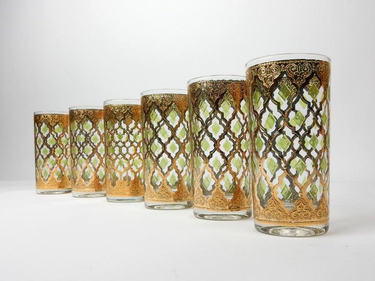 20th Century 1960's Culver Ltd. Valentia 22kt Gold Foil Hi-Ball Bar Glasses 6 For Sale