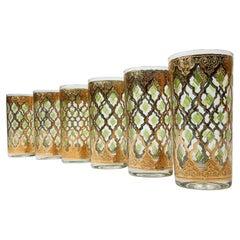 1960's Culver Ltd. Valentia 22kt Gold Foil Hi-Ball Bar Glasses 6