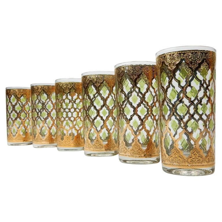 1960's Culver Ltd. Valentia 22kt Gold Foil Hi-Ball Bar Glasses 6 For Sale