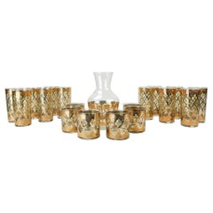 1960s Culver Valencia 22-Karat Gold Bar Glass Set