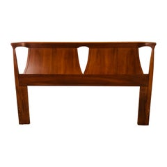 1960s Curved Back Walnut Wood Queen Headboard