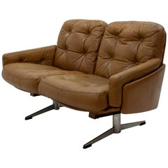 1960s Curved Leather Loveseat