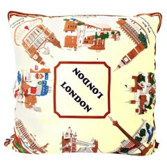 1960s Custom Large London Travel Souvenir Silk Scarf Down Filled Pillow