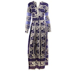 1960s Custom Purple and Silver & Gold Metallic Vintage Evening Dress With Belt