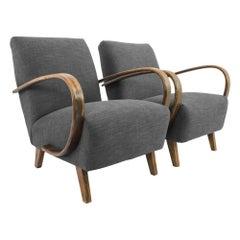1960s Czech Grey Armchairs by J. Halabala, a Pair