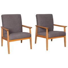 1960s Czech Mid-Century Modern Upholstered Armchairs, a Pair