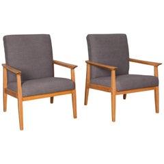 1960s Czech Mid-Century Modern Upholstered Armchairs, a Pair