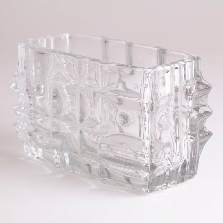 1960s Czech Sklo Union Jardiniere Glass Vase by Vladislav Urban In Good Condition In London, GB