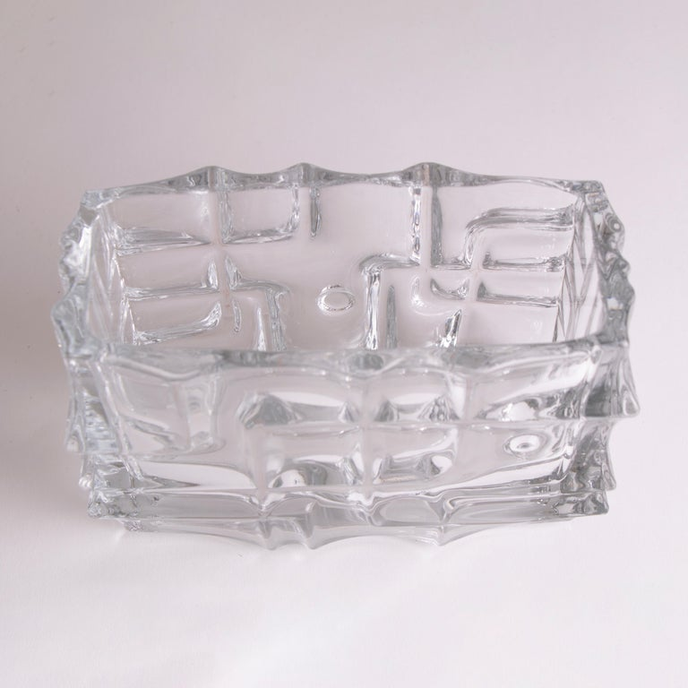 Optical Glass 1960s Czech Sklo Union Jardiniere Glass Vase by Vladislav Urban