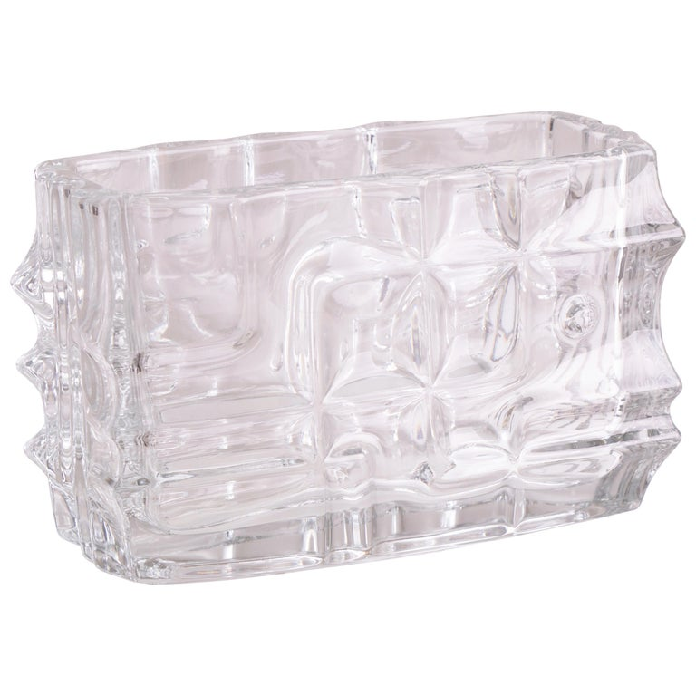 1960s Czech Sklo Union Jardiniere Glass Vase by Vladislav Urban
