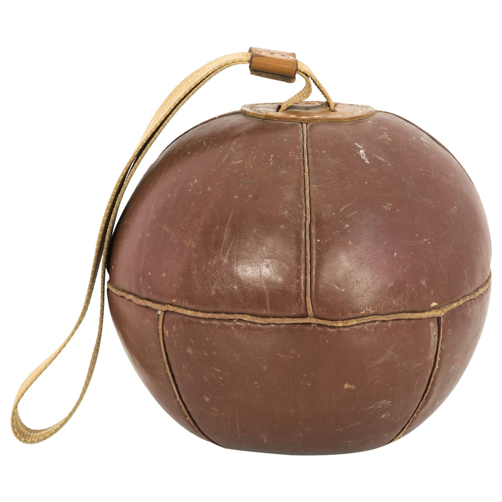 1960s Czechoslovakian Leather Boxing Ball