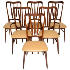 1960s Danish Afromosia Wood and Leather Dining Chairs by Nils Kofoed