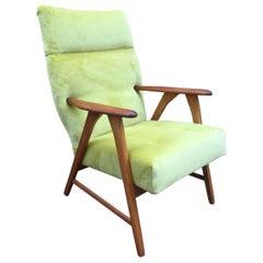 1960s Danish Armchair Teak Arms Vintage Lounge Chair Yellow