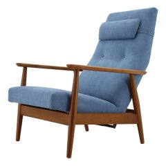 1960s Danish Beech Reclining Easy Chair