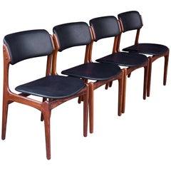 1960s Danish Black Rosewood Dining Chairs Mid Century Scandinavian Erik Buch, 4