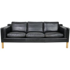 1960s Danish Black Leather 3-Seat Sofa