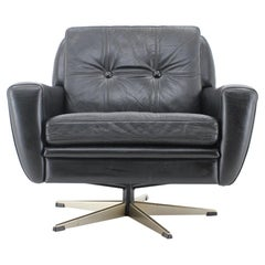1960s Danish Black Leather Swivel Chair