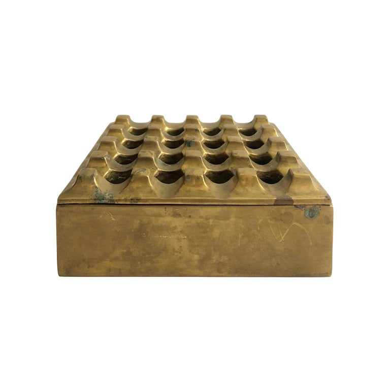 1960s Danish Brass Grid Ashtray in the Manner of Holger Bäckström & Bo Ljungberg For Sale
