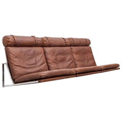 1960s Danish Brown Leather Wall-Mounted Sofa by Fabricius / Kastholm