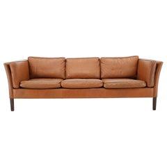 1960s Danish Cognac Brown Leather 3-Seat Sofa